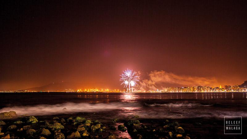 Vuurwerk Malaga zee